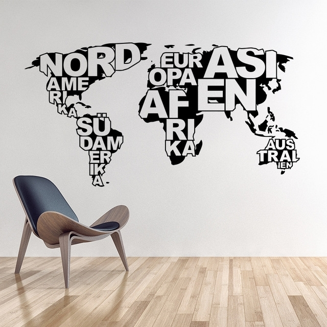 Art Design World Map Vinyl Wall Sticker Home Decoration Map Wall For Vinyl Wall Art World Map (View 10 of 10)