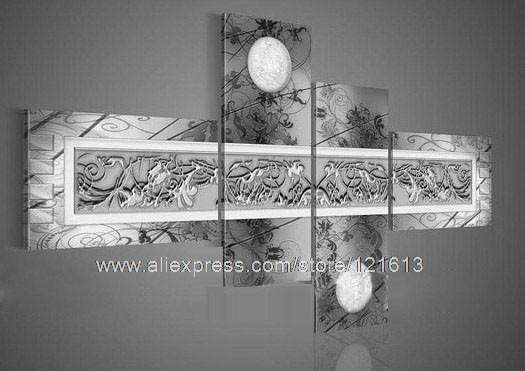 Art Home Flower Group Moon Flower Pattern On Grey Chastity Silver Throughout Silver Wall Art (View 3 of 10)