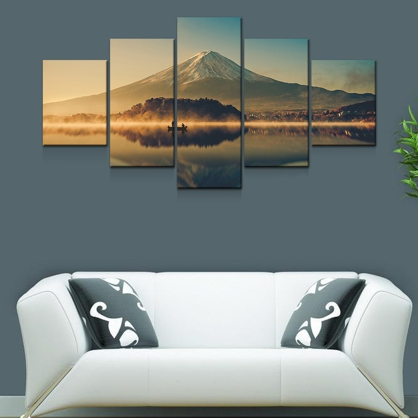 Artryst Large Canvas Wall Art 5 Panel Modern Painting And Prints Intended For Modern Large Canvas Wall Art (Image 4 of 10)