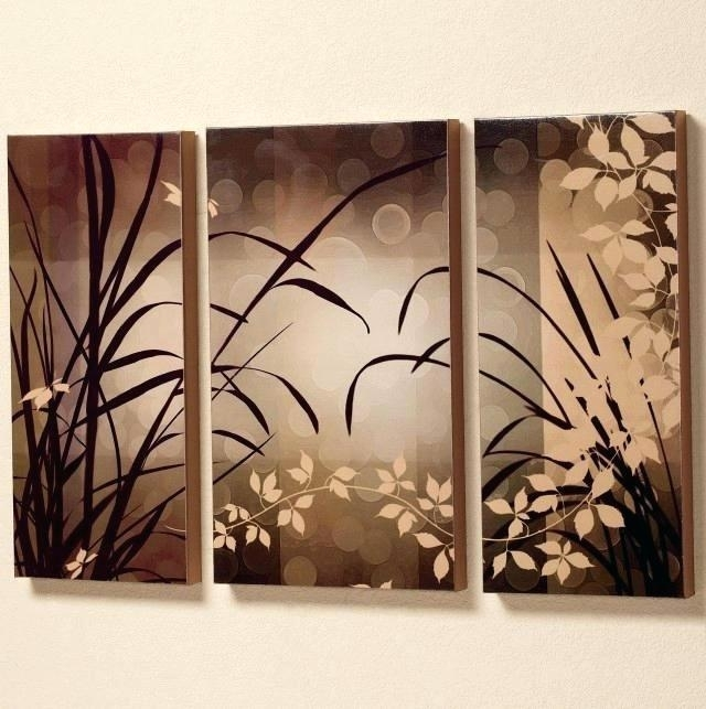Asian Wall Art Wall Art Oil Painting Brown Flowers Trees Three Panel In Oriental Wall Art (View 10 of 10)