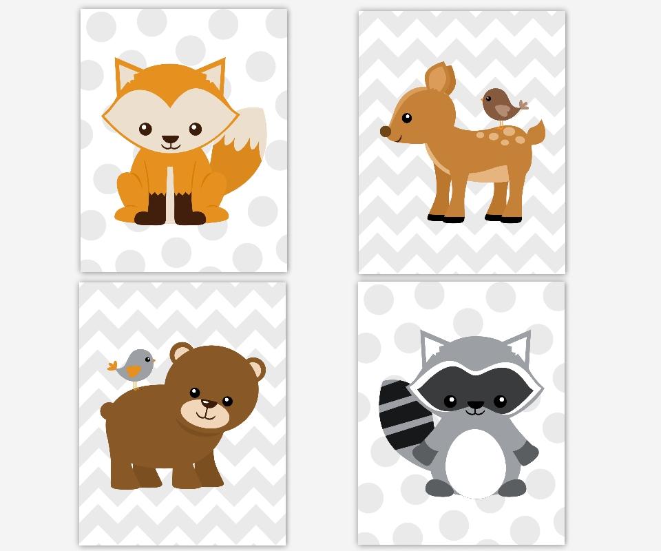 Baby Boys Canvas Nursery Wall Art Brown Gray Grey Fox Bear Deer Inside Woodland Nursery Wall Art (Image 2 of 10)