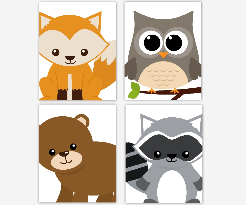 Baby Boys Canvas Nursery Wall Art Brown Gray Grey Large Owl Fox Bear Inside Woodland Nursery Wall Art (Image 3 of 10)