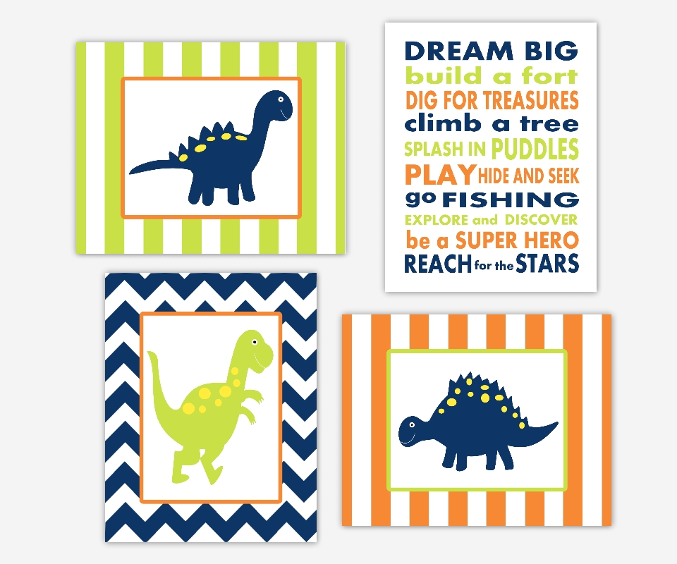 Baby Boys Canvas Nursery Wall Art Navy Blue Lime Green Orange Regarding Dinosaur Wall Art (Image 1 of 10)