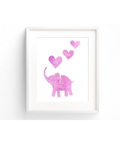 Baby Girl Pink Wall Art Printable Elephant With I Love You Hearts Regarding Pink Wall Art (Image 2 of 10)
