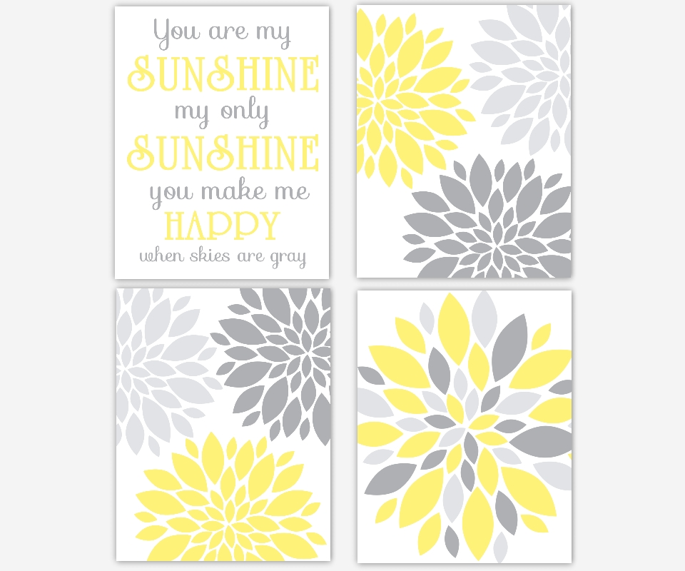 Baby Girls Canvas Nursery Wall Art You Are My Sunshine Flower Burst With You Are My Sunshine Wall Art (Image 1 of 10)
