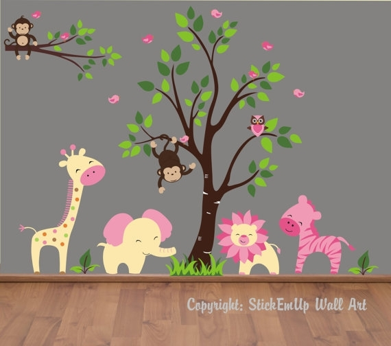 Baby Wall Decals – 155 – Nursery Wall Decals – Monkey Wall Decal With Regard To Baby Room Wall Art (View 3 of 10)