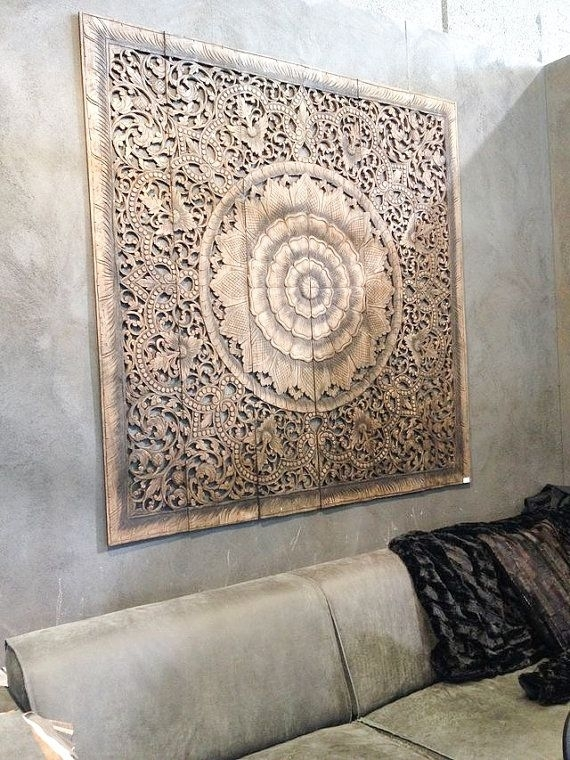 Balinese Wall Decor, Carved Wood Wall Art Panel, Wall Hanging, Teak Within Carved Wood Wall Art (Image 1 of 10)