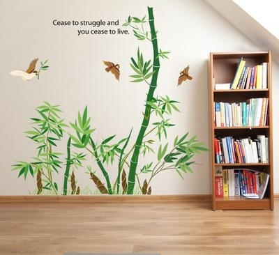 Bamboo Forest Wall Art Mural Decor Cease To Struggle And You Cease With Bamboo Wall Art (Image 3 of 10)