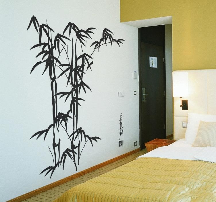 Bamboo Wall Art Decal – Tenstickers Regarding Bamboo Wall Art (Image 4 of 10)