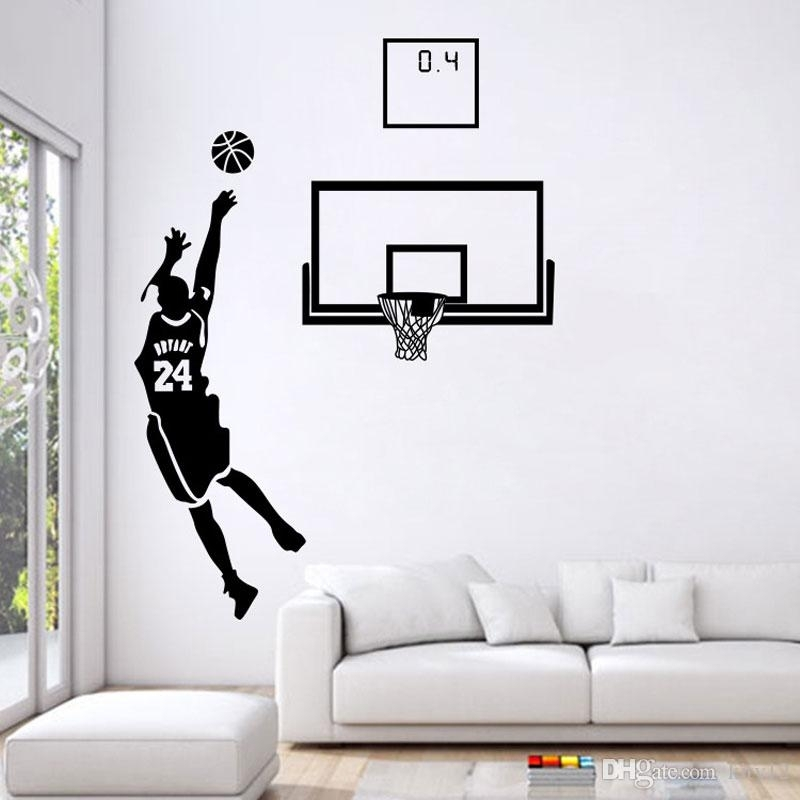 Basketball Men Boys Wall Stickers Sports Wallpaper Wall Decals Art Pertaining To Basketball Wall Art (Image 2 of 10)