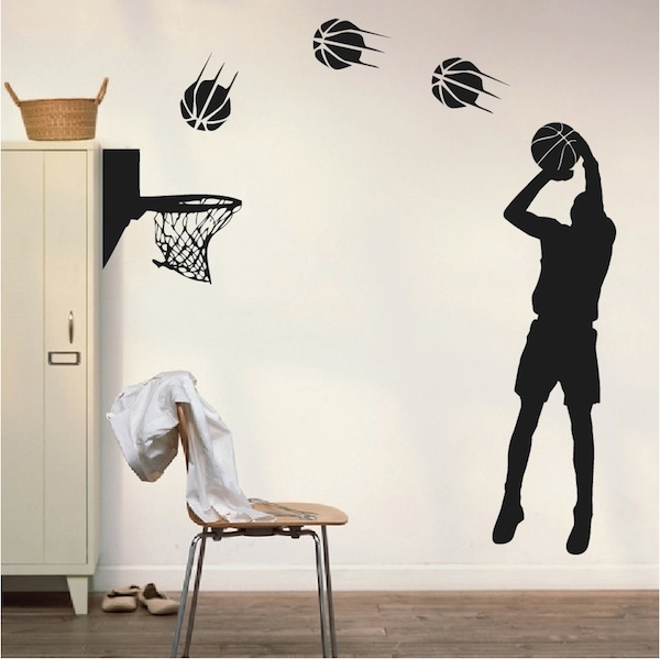 Basketball Player Wall Appliqué – Trendy Wall Designs Pertaining To Basketball Wall Art (Image 3 of 10)