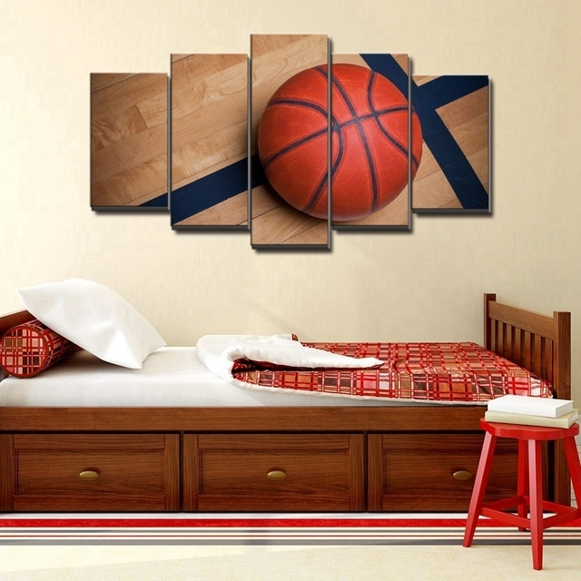 Basketball Sports Canvas Wall Art For Boys Bedroom Decor Kids Room In Sports Wall Art (Image 2 of 10)