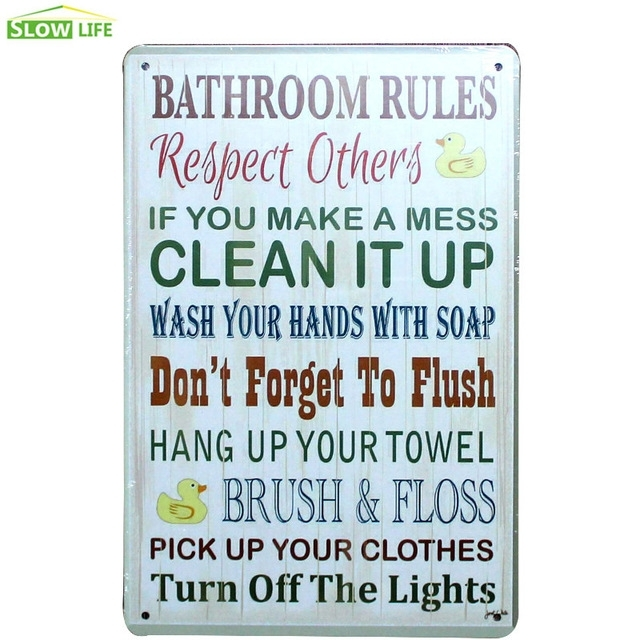 Bathroom Rules Metal Tin Sign Bar/family Wall Decor Metal Sign Pertaining To Bathroom Rules Wall Art (Image 2 of 10)