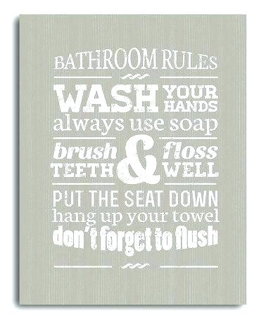 Bathroom Rules Wall Art Canvas Gray Bathrooms And Within Ideas For With Bathroom Rules Wall Art (Image 4 of 10)