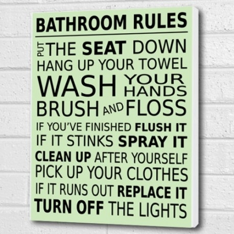 Bathroom Rules Wall Art Decor Inside Bathroom Rules Wall Art (Image 5 of 10)
