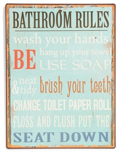 Bathroom Rules Wall Art | Everything Turquoise Intended For Bathroom Rules Wall Art (Image 3 of 10)