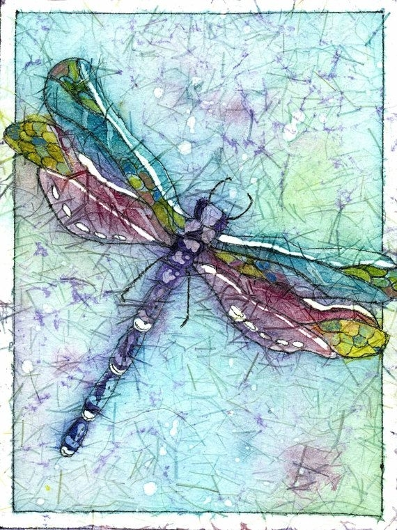 Batik Art,dragonfly Art,dragonfly Prints,a Dragonfly Painting Within Dragonfly Painting Wall Art (Image 2 of 10)