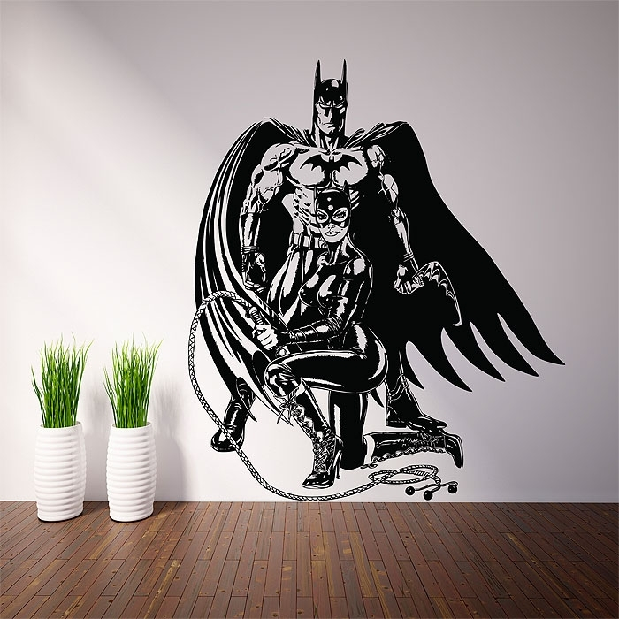 Batman And Catwoman Vinyl Wall Art Decal Pertaining To Batman Wall Art (Image 2 of 10)