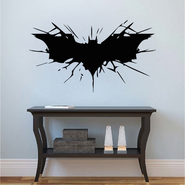 Batman Wall Decal Boys Bedroom Removable Animal Wall Stickers Black Regarding Batman Wall Art (Image 6 of 10)