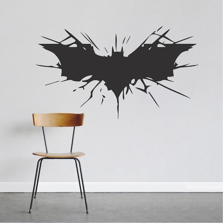 Batman Wall Decal Boys Bedroom Removable Animal Wall Stickers Black Throughout Batman Wall Art (Image 7 of 10)