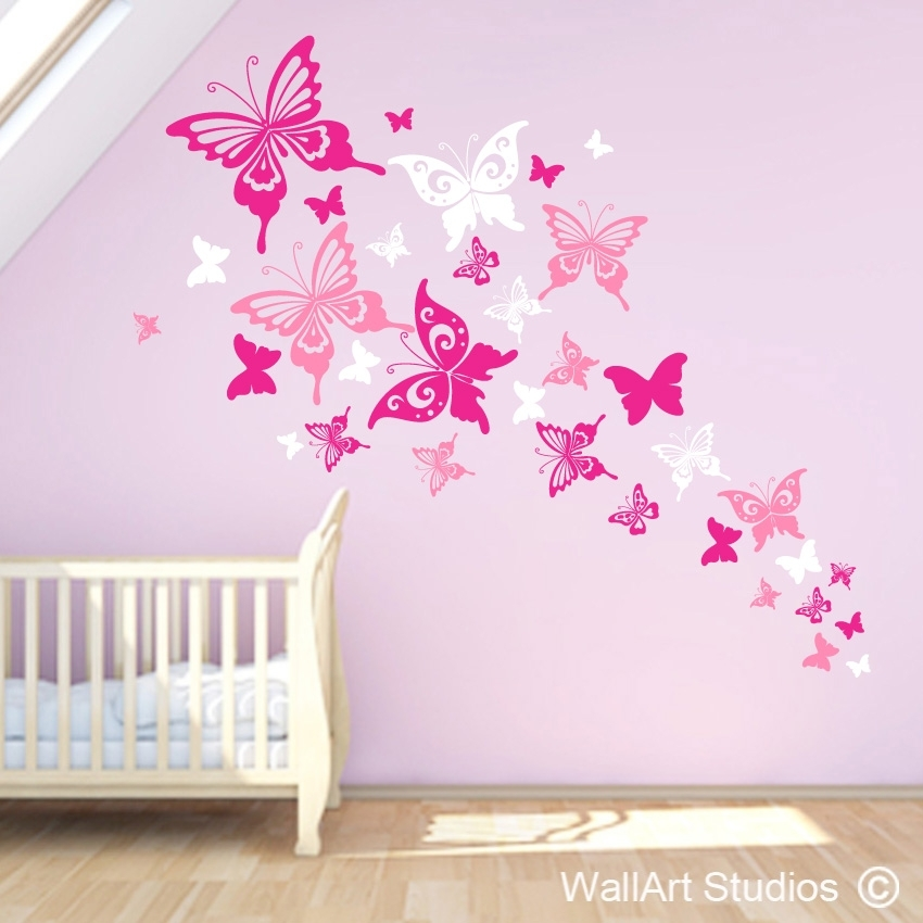 Beautiful Butterflies Wall Art Decals | Vinyl Stickers | Wall Art Intended For Butterfly Wall Art (Image 3 of 10)