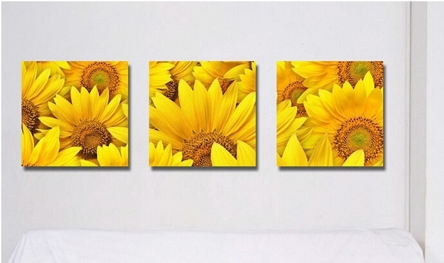Beauty Painting Pictures Decor Living Room Decoration Sunflower Wall Inside Sunflower Wall Art (Image 3 of 10)