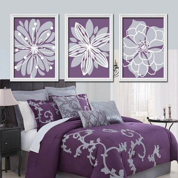 Bedding For Purple Walls Purple Decoration Ideas Purple Wall Lights Throughout Purple And Grey Wall Art (View 7 of 10)
