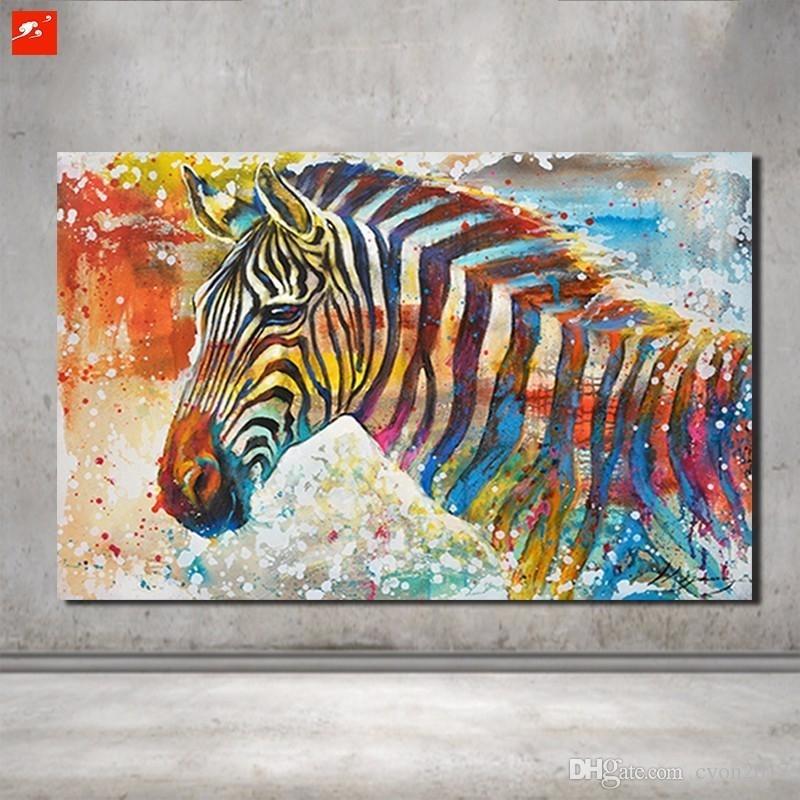 Best Wildlife Wall Art Hand Painted Zebra Canvas Oil Painting On Within Zebra Canvas Wall Art (View 7 of 10)