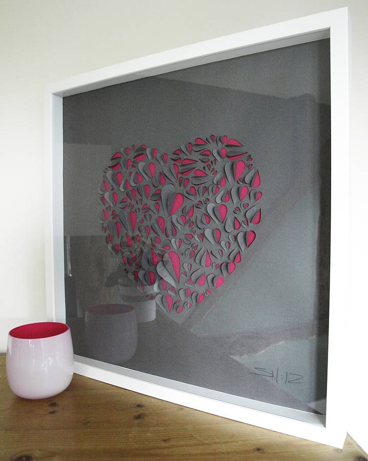 Big Love Heart Hand Crafted Wall Artillustries Pertaining To Pink Wall Art (Image 3 of 10)