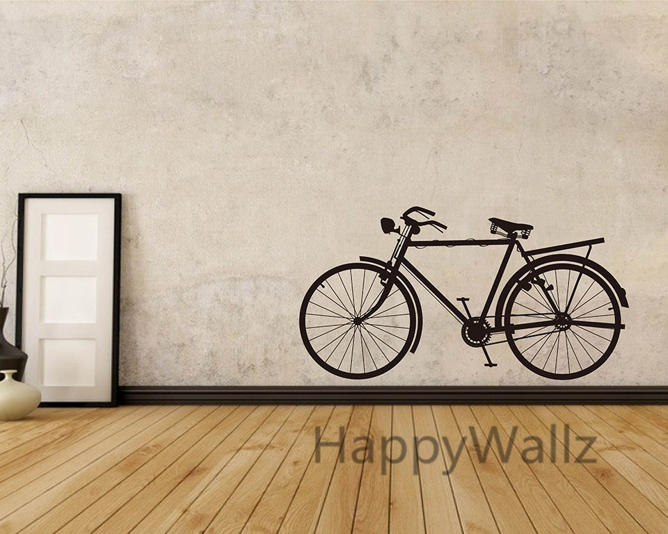 Bike Wall Sticker Modern Bicycle Wall Decal Diy Decorating Modern Intended For Bicycle Wall Art (View 4 of 10)