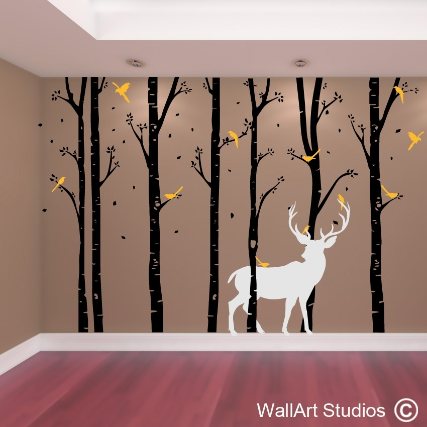 Birch Forest Stag Wall Art Vinyl | Designedwall Art Studios Throughout Wall Tree Art (Image 3 of 10)