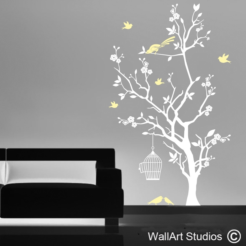Bird Cage And Blossom Tree | Vinyl Wall Decals | Wall Art Studios With Regard To Tree Wall Art (View 3 of 10)