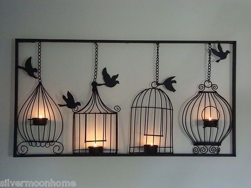 Bird Cage Wall Art, Tea Light Candle Holder, Black Metal, Unusual Within Unusual Wall Art (Image 1 of 10)