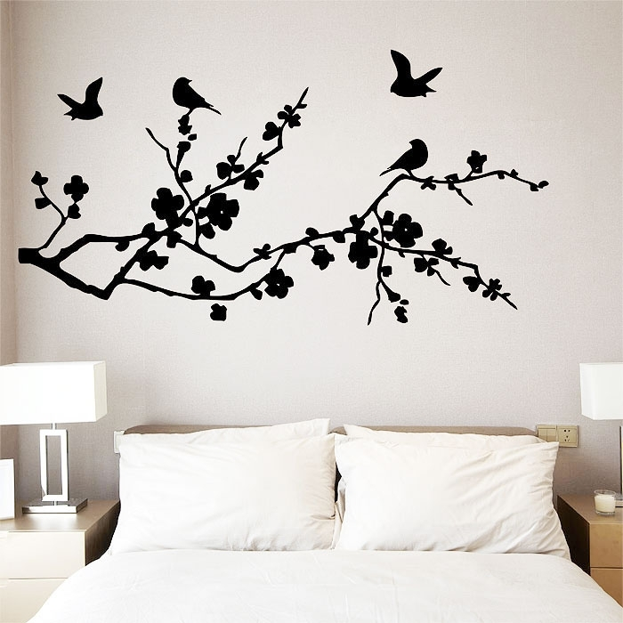 Birds Fly On Cherry Blossom Vinyl Wall Art Decal Intended For Cherry Blossom Wall Art (Image 1 of 10)
