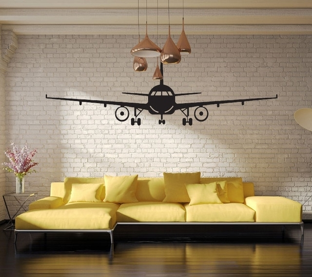 Black Airplane Wall Art Mural Decor Sticker Boys Kids Room Wallpaper Inside Airplane Wall Art (Image 7 of 10)