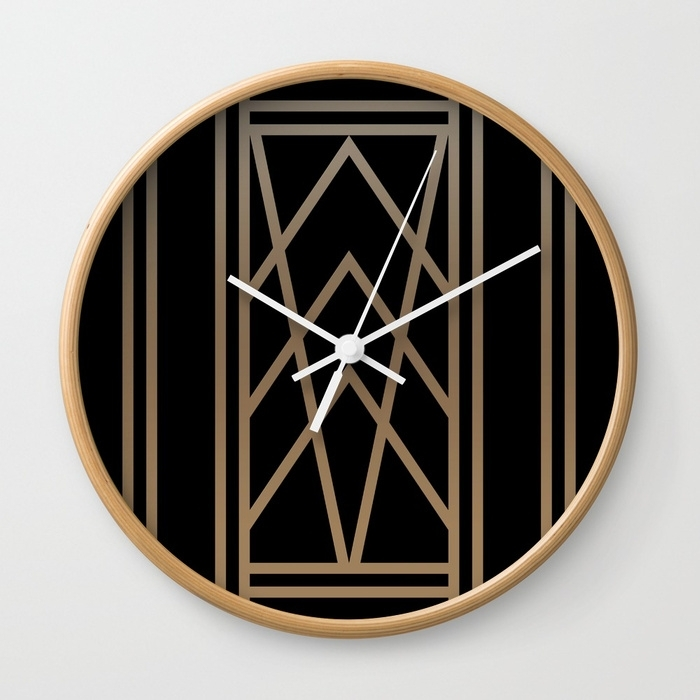 Black And Gold 2 (Abstract Art Deco Geometric) Wall Clock Pertaining To Art Deco Wall Clock (Image 5 of 10)