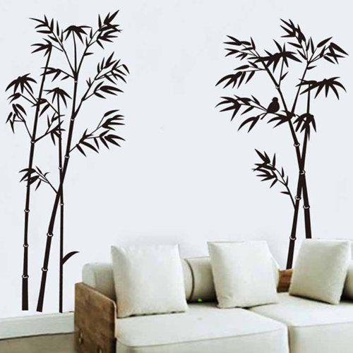 Black Bamboo Single Color Leaves Tree Branch Wall Decor Decal Regarding Bamboo Wall Art (Image 8 of 10)