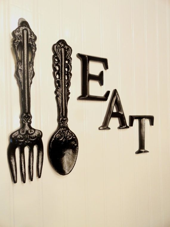 Black Kitchen Wall Decor, Large Fork Spoon Wall Decor, Eat Sign With Fork And Spoon Wall Art (Image 2 of 10)
