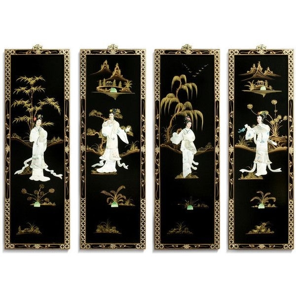 Black Lacquer Wall Plaques With Mother Pearl – Asian – Wall With Oriental Wall Art (View 2 of 10)