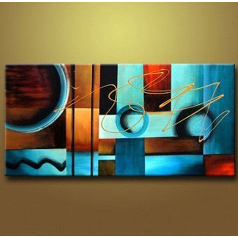 Blue And Brown Circles Modern Abstract Oil Painting Canvas Wall Art Pertaining To Modern Painting Canvas Wall Art (Image 5 of 10)