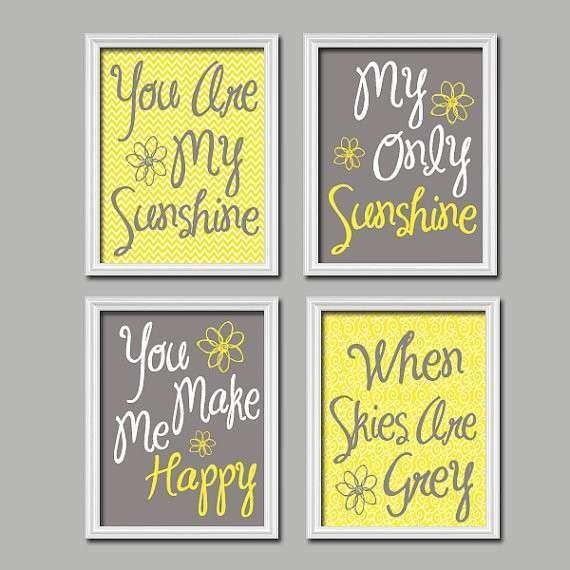 Blue And Yellow Wall Decor Best Of Yellow Gray You Are My Sunshine Intended For You Are My Sunshine Wall Art (Image 2 of 10)