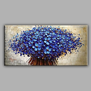Blue Knife Flowers  Floral Oil Painting Canvas Wall Art With With Regard To Cheap Canvas Wall Art (Image 4 of 10)