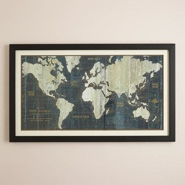 Blue Old World Map – Originals And Limited Editions – Cost Plus Intended For World Market Wall Art (Image 1 of 10)