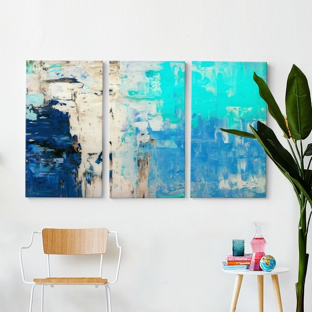 Blues Triptych Wall Art With Regard To Triptych Wall Art (Image 1 of 10)