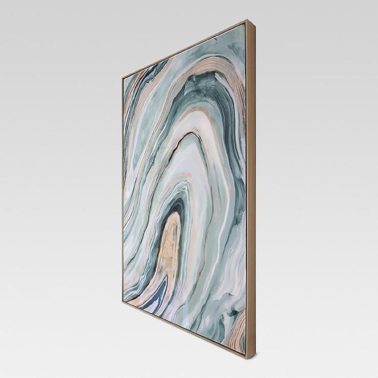 Blush Blue Agate Framed High Gloss Canvas Regarding Agate Wall Art (Image 5 of 10)