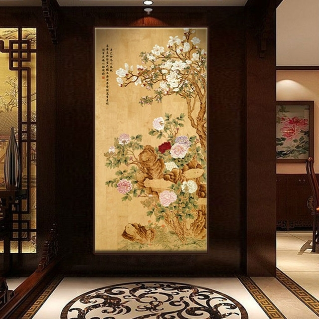 Bnqj Handpainted Traditional Chinese Painting Flower Peony Wall Throughout Traditional Wall Art (View 8 of 10)
