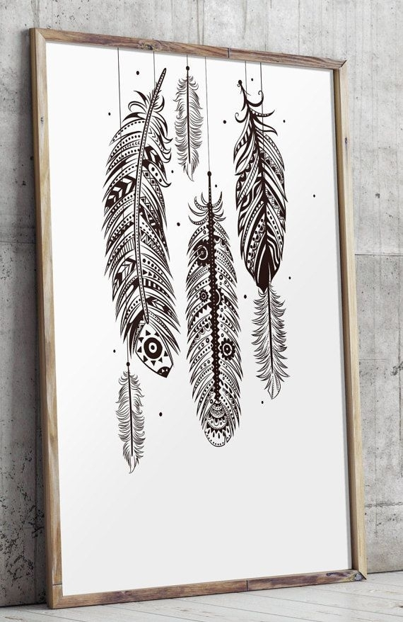 Bohemian Wall Art, Feather Wall Art, Bohemian Decor, Printable Art With Regard To Feather Wall Art (Image 2 of 10)