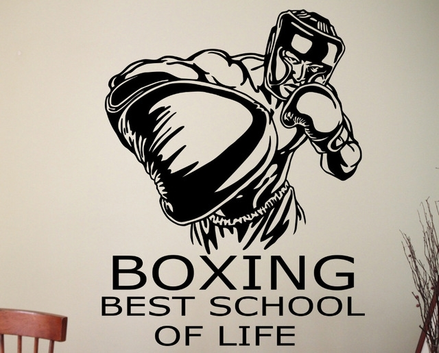 Boxing Wall Decal Sports Wall Stickers Sport Room Design Boxing Wall With Regard To Sports Wall Art (Image 3 of 10)