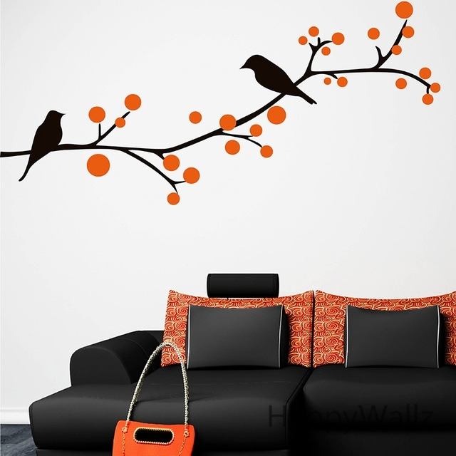 Branch Birds Wall Sticker Tree Wall Decal Baby Nursery Home In Bird Wall Art (Image 4 of 10)