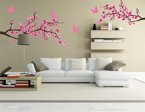 Branches With Birds Wall Graphics, Wall Graphic, Tree Decal, Tree Intended For Stick On Wall Art (Image 1 of 10)